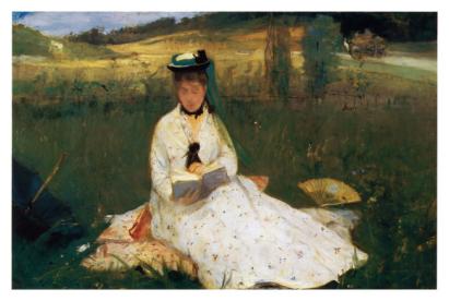 Čtenářka na louce - Reading (Berthe Morisot)