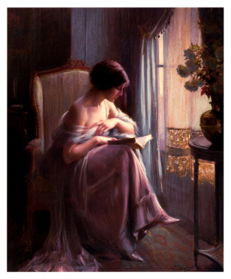 Mladá žena čtoucí u okna - Young Woman Reading by a Window (Delphin Enjolras)