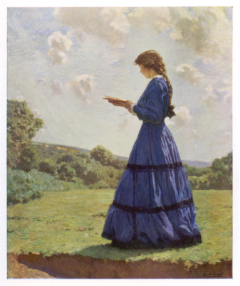 Girl Stands in a Field Reading Her Book / Harold Knight