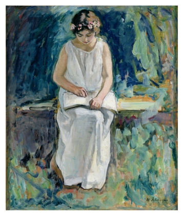 Girl Reading (Oil on Canvas) (Henri Lebasque)