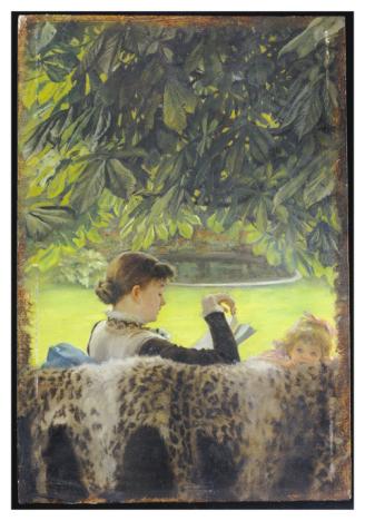 Čtenářka pod kaštanem - Quiet (James Jacques Joseph Tissot)