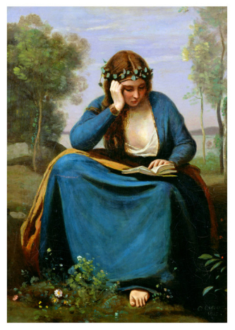 The Reader Crowned with Flowers, or Virgil's Muse, 1845 (Jean-Baptiste-Camille Corot)