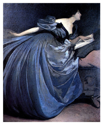 Althea Reading in Blue Dress (John White Alexander)